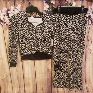 NWT Juicy Couture Girls Leopard Velour Tracksuit